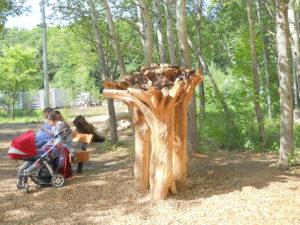 Композиция - три дерева корнями вверх образуют свою площадку, на которую взгромоздится зверь